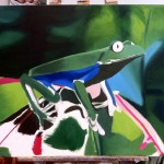 Tree Frog - in progress oil painting